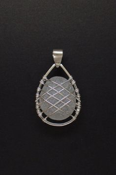 Sea Glass Jewelry - Sterling Caged Large White Sea Glass Pendant