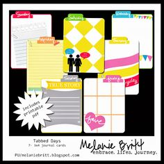 Free journaling and filler cards by Melanie Britt with the day of the week