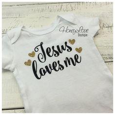 Jesus loves me - Black Gold Glitter shirt bodysuit custom hearts newborn infant baby toddler little girl Sunday School, Baptism gift, Church by HoneyLoveBoutique
