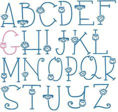 Happy Kids Alphabet 5x7 and 4x4 Formats: pes, hus, and jef #embroidery #happykids