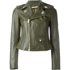 Givenchy classic biker jacket ($2,750) ❤ liked on Polyvore featuring outerwear, jackets, givenchy, green, studded motorcycle jacket, straight jacket, green moto jacket, green jacket and biker jacket