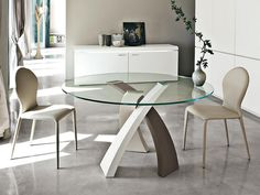 Tonin Casa Eliseo Glass Top Dining Table in Tricolour