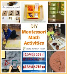 """Enjoy a fun collection of DIY Montessori math activities and please join our """"Learn & Play"""" Thursday link party! - www.christianmontessorinetwork.com"""