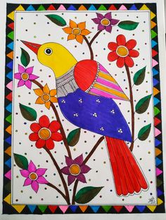 Durga Painting, Madhubani Painting, Art Drawings Sketches Simple, Bird Drawings, Love Birds Painting, African Art Paintings, Doodle Art Designs, Madhubani Art, Indian Folk Art