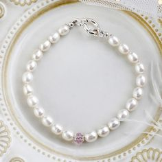 Hot Sale Freshwater Pearl Bracelets with Silver Sterling Clasp & Pink Crystal Bangles For Women Pearl Bracelets, Freshwater Pearl Bracelet, Strand Bracelet, Pearl Beads, Pearl Necklace, Bangles, Crystal Centerpieces, Pearls, Crystals