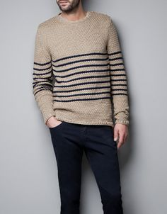 STRIPED STRUCTURED SWEATER - Knitwear - Man - New collection - ZARA