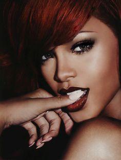 Rihanna rockin red haute hair & lips, nude nails