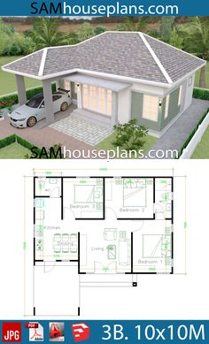 Architektur House Plans with 3 Bedrooms - Sam House Plans Ready Your Child For Reading It's ne My House Plans, House Layout Plans, Simple House Plans, Simple House Design, Modern House Plans, House Layouts, Small House Layout, Bungalow Haus Design, Modern Bungalow House