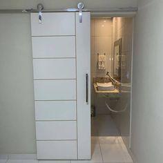 - Lilly is Love Bathroom Doors, Bathroom Interior, Small Bathroom, Wood Barn Door, Glass Barn Doors, Small Kitchen Plans, Door Design, House Design, Glass Room Divider