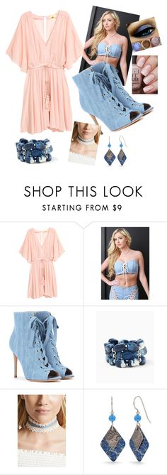 """denim romper"" by kkornak on Polyvore featuring Gianvito Rossi, Forever 21 and Silver Forest"
