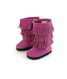 Suede Fringe Boots, 6 Colors - shoes for American Girl® and other 18 inch dolls