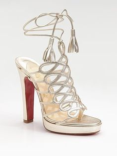 Christian Louboutin  Salsbourg Metallic Leather Strappy Sandals