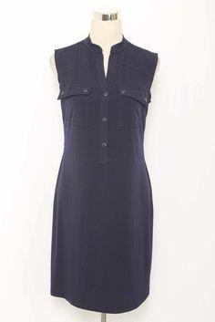 Valerie Bertinelli Navy Blue Sleeveless Stretch Knit Dress Size 8 2484 L1215
