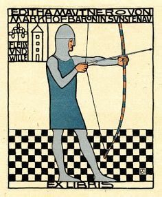 Ex Libris Chronicle: The International Collector: The Vienna Workshop, IV - ex libris in this context is the bookplate for Fritz Warendorfer, drawn by Kolo Moser (Vienna 1868 – 1918 Vienna). Ex Libris, Koloman Moser, Charles Rennie Mackintosh, Illustrations, Book Illustration, Klimt, Art Nouveau, Vienna Secession, Painting Edges