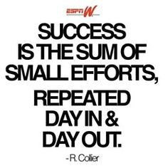 success is the sum of small efforts, repeated day in & day out.