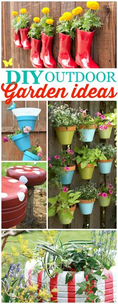 DIY outdoor garden ideas, so cute and clever!! Can't wait to spruce up your outdoors.
