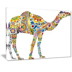 Shop for Designart 'Cheerful Floral Camel' Digital Art Metal Wall Art. Get free delivery On EVERYTHING* Overstock - Your Online Art Gallery Shop! Large Metal Wall Art, Metal Artwork, Camel Craft, Thing 1, Canvas Art Prints, Canvas Size, Cotton Canvas, Floral, Graphic Art
