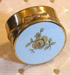 Pill Box Gold Painted Rose on Blue Round by RosePetalResources, $30.00