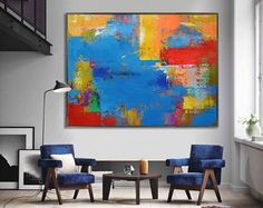 Large Contemporary Art Canvas Painting. Handmade by CelineZiangArt