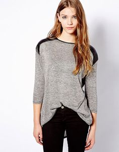 Grey Contrast PU Leather Long Sleeve Loose T-Shirt