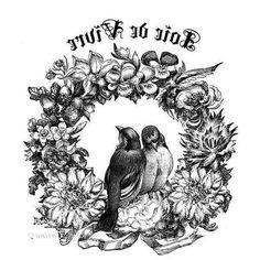 birds & wreath illustration