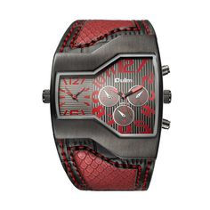 OULM Brand 6 Colors Men Quartz Watches Double Time Shown Snake Style Band