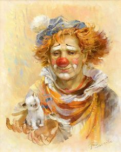 """Sad clown from colorful series """"Clowns"""" painted by Rimma Vyugova. """"I know what I look like – a weird, sad clown puppet. I'm fine with that"""". Rainn Wilson"""