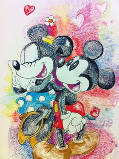 Mickey and Minnie Rose Pastel Drawing