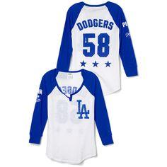 PINK Los Angeles Dodgers Split-Neck Baseball Tee ($29) ❤ liked on Polyvore