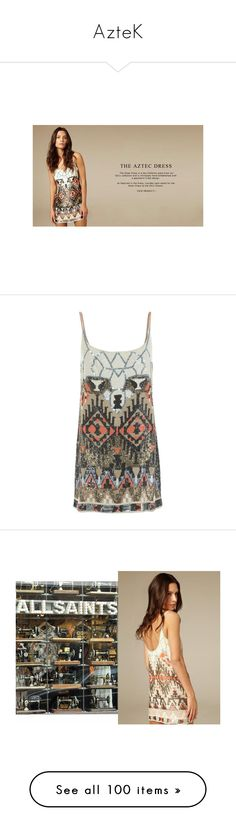 """""""AzteK"""" by anabellaaaa ❤ liked on Polyvore featuring dresses, pink aztec dress, allsaints, pink dress, aztec print dress, allsaints dress, tops, robe, women and geometric pattern dress"""