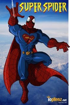 Supermand and Spider-man mashup as the Amazing Super Spider | Marvel/DC superhero mashups