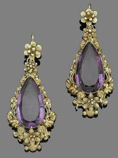 Large purple flower dangle earrings solid 925 sterling silver jewelry women gift #NIKI #DropDangle
