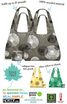 Cute reusable bags made from recycled materials.