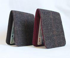 Mens Wool Minimalist Comfort Wallet in Brown Herringbone Wool 5 Pockets
