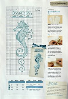 Seahorse cross-stitch [not sure about the swirls at the top]