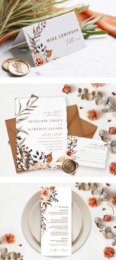 Amber- our earthy boho wedding stationary collection in fall hues- perfect for woodland-themed or outdoor rustic weddings Fall Wedding Invitations, Wedding Stationary, Wedding Favors, Autumn Wedding, Boho Wedding, Floral Wedding, Bohemian Fall, Reception Card, Rustic Weddings