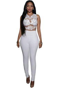 New Lace Bodysuit Female Transparent Mesh Applique Rompers Flower Jumpsuit combinaison femme 64037