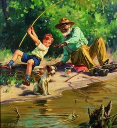 Artist: Henry Hintermeister Born New York (father from Switzerland) American illustrator Henry Hintermeister and h. Vintage Prints, Vintage Art, Country Art, Gone Fishing, Norman Rockwell, Fish Art, Oeuvre D'art, Gouache, Graphic Illustration