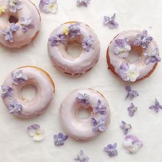Sugared Flowers: The Secret to Making Spring's Most Beautiful Garnish, donuts with white and purple sugared flowers Delicious Donuts, Yummy Food, Cute Desserts, Dessert Recipes, Cake Recipes, Flower Food, Sugar Flowers, Edible Flowers Cake, Candy Flowers
