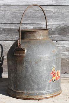 primitive old farm milk bucket, vintage dairy pail milking machine kettle