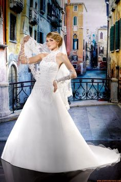 Glamorous halter backless zeemeermin appliques op organza bruidsjurk
