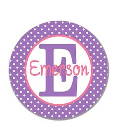 Loving this Purple Polka Dot Personalized Plate on #zulily! #zulilyfinds