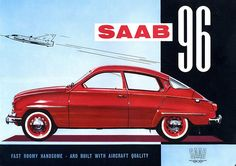 Saab knew how to do a sweeping slice of cool car. The Saab 96 was a unique quirky vehicle that epitomised the eccentricities of its owners Saab Automobile, Saab Turbo, Good Looking Cars, Saab 900, Car Brochure, Retro Advertising, Car Posters, Old Cars, Vintage Motorcycles