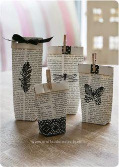 Craft and creativity -blogin ohjeilla onnistuu nämä vanhojen kirjojen sivuista tehtyjen lahjapussien teko.