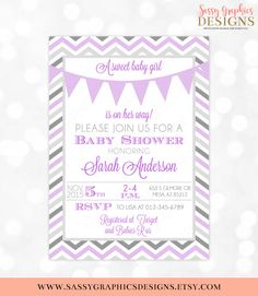Girl Baby Shower Invitation Baby Girl Purple Gray Pennant Banner Chevron It's A Girl Bunting Banner DIY Printable Invite PDF
