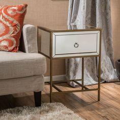 Mercer41 Echeverria 1 Drawer Mirroried End Table & Reviews | Wayfair