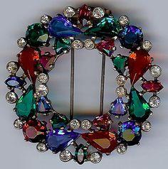 Eisenberg Vintage 1940s Sterling Rhinestone Multicolor Faceted Glass Fur Clip | eBay