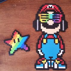 Rainbow Mario and Star Perler Beads Hama Beads Mario, Perler Bead Mario, Diy Perler Beads, Pearler Beads, Perler Bead Designs, Perler Bead Templates, Fuse Bead Patterns, Perler Patterns, Beading Patterns