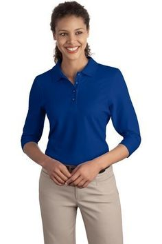 Port Authority Womens Silk Touch 34 Sleeve Sport Shirt XXLarge  Royal *** Click on the image for additional details.
