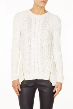 Michael Michael Kors | Long Sleeve Cable Zip Sweater